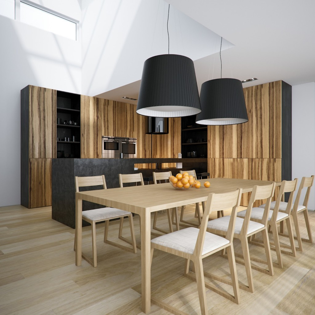 Place Black Pendant Light Shades above Long Wooden Table and Oak Chairs in Open Dining Room