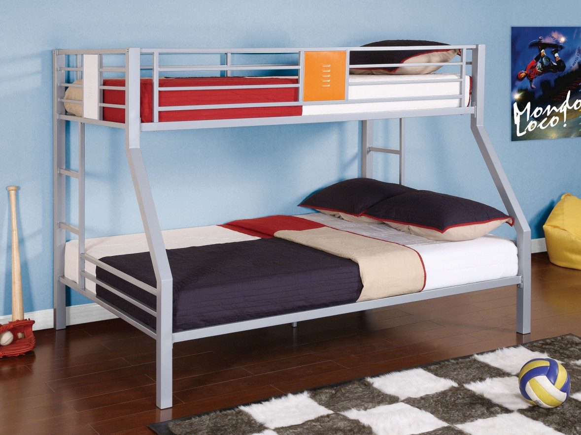 Place Boys Bunk Beds with Comfy Bedding near Yellow Bean Bag on Hardwood Flooring