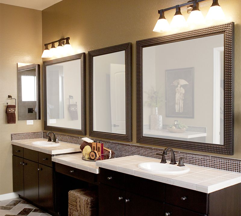 Place Bright Wall Lamps Above Interesting Bathroom Vanity Mirrors In  Traditional Room With Black Vanity
