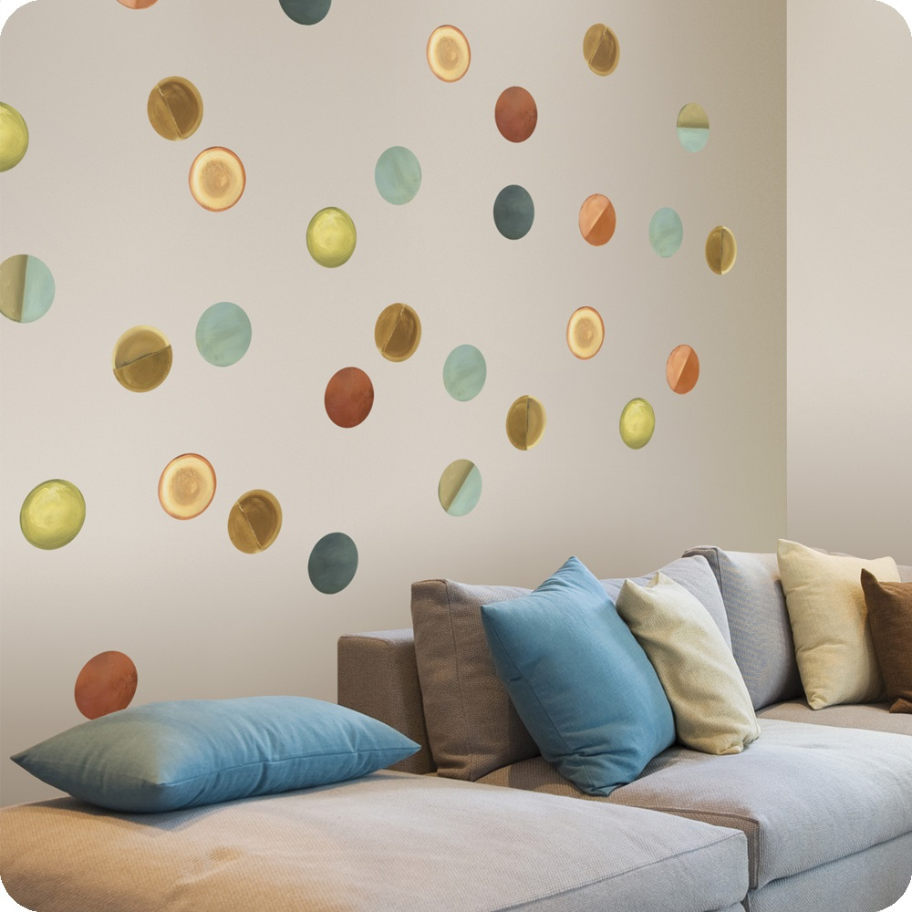 Place Colorful Square Cushions on Long Sofa Chaise beside Interesting Wall Decoration Ideas