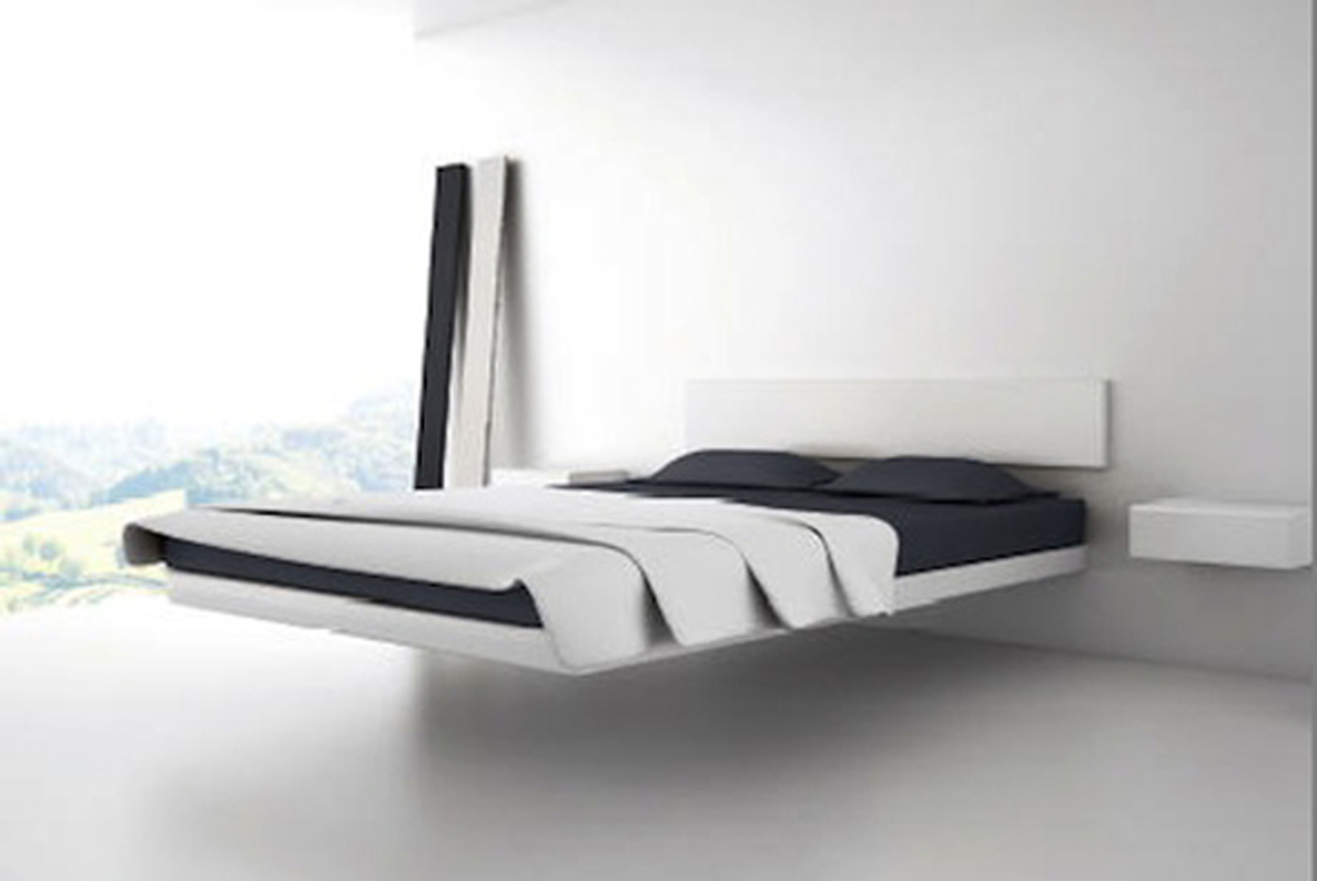 Place Futuristic Floating Bed Frame With White Duvet And Dark Mattress  Inside Spasious Bedroom
