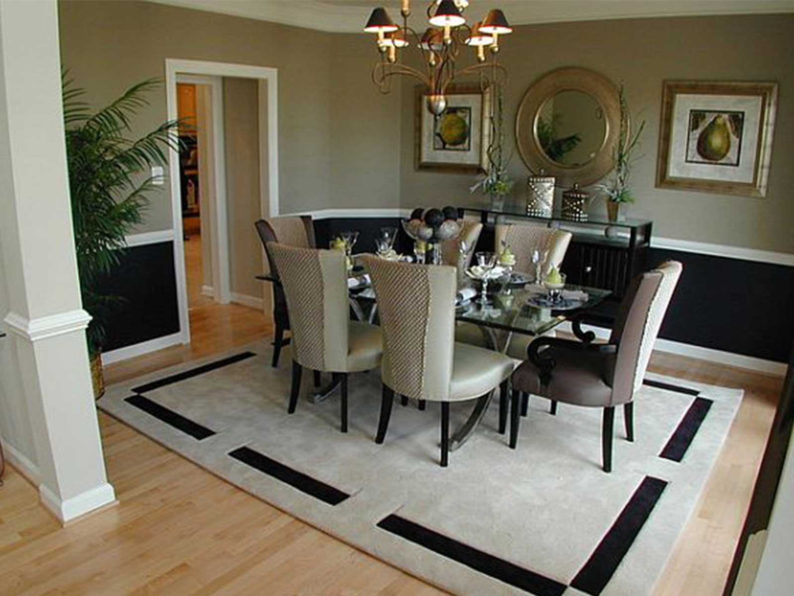 Place Glass Top Table and Grey Chairs on Simple Dining Room Rugs inside Enchanting Dining Area