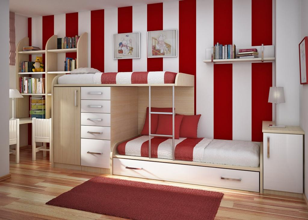 Place Modern Bunk Bed as Ikea Bedroom Furniture for Stylish Kids Bedroom with Tidy Wooden Bookshelves