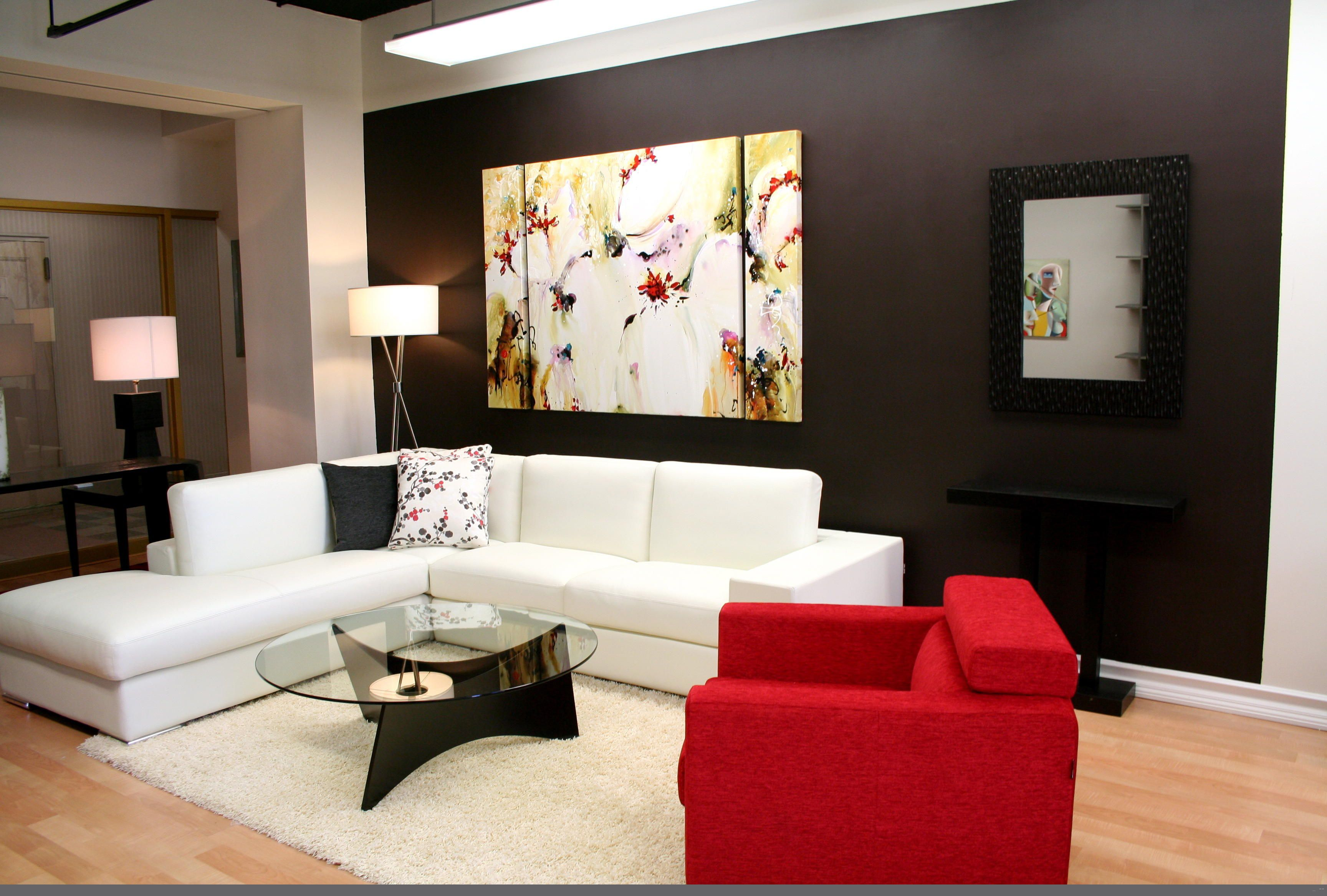 Place Red Sofa and White Sectional Sofa for Comfy Living Room Design Ideas with Glass Coffee Table