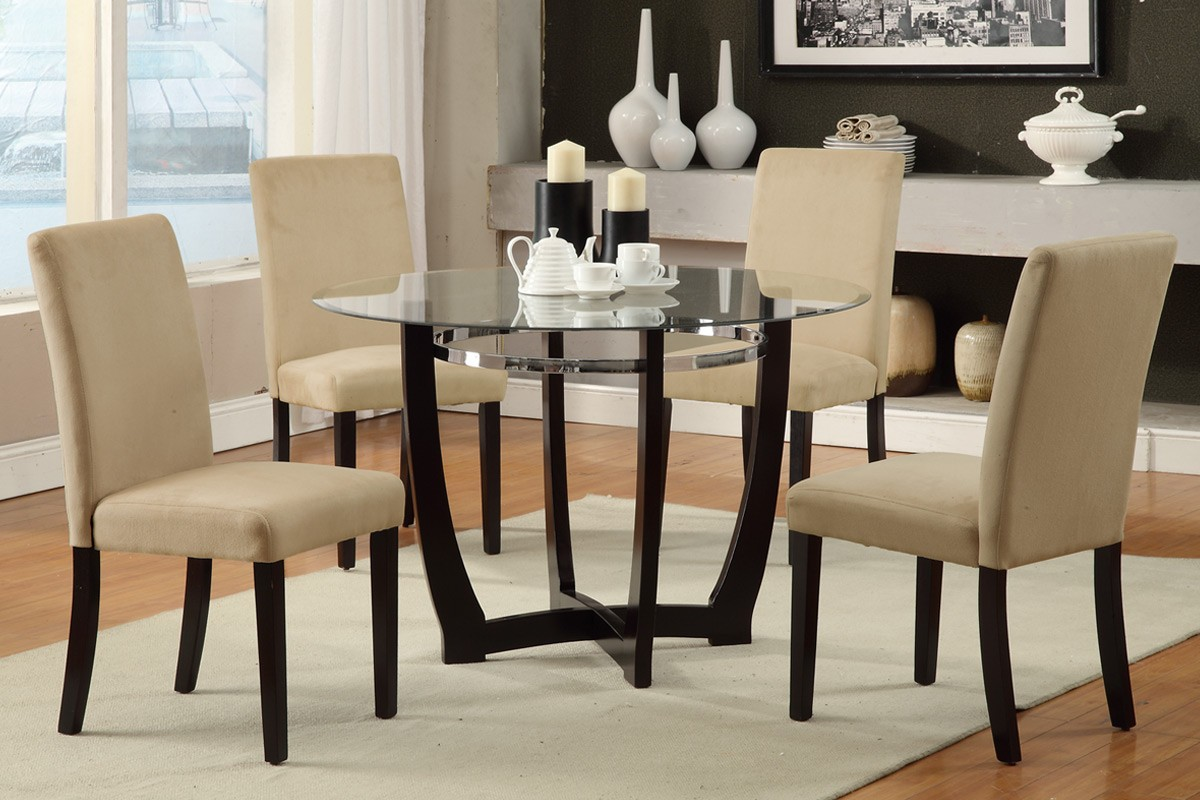 Place Round Glass Top Dining Table And Cream Chairs Inside Open Dining Area  With Grey Carpet