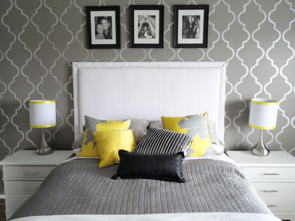 Place White Bed and Grey Bedding for Simple Bedroom with Grey Accent Wall Ideas