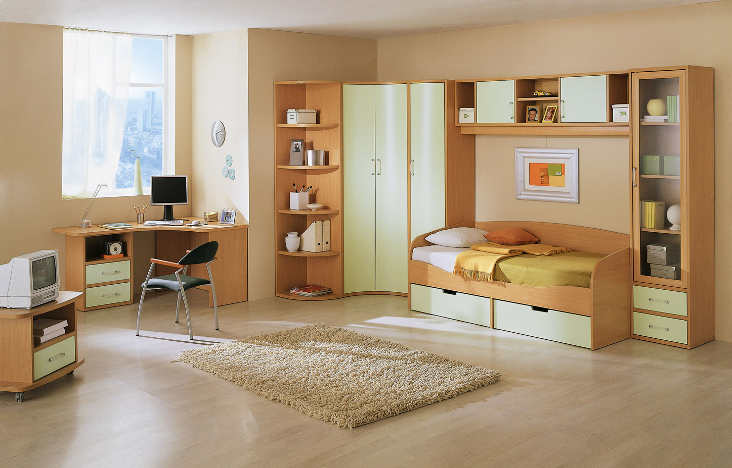 Place Wooden Corner Computer Desk inside Wide Kids Room Decor with Brown Storage Bed and Tidy Cabinets