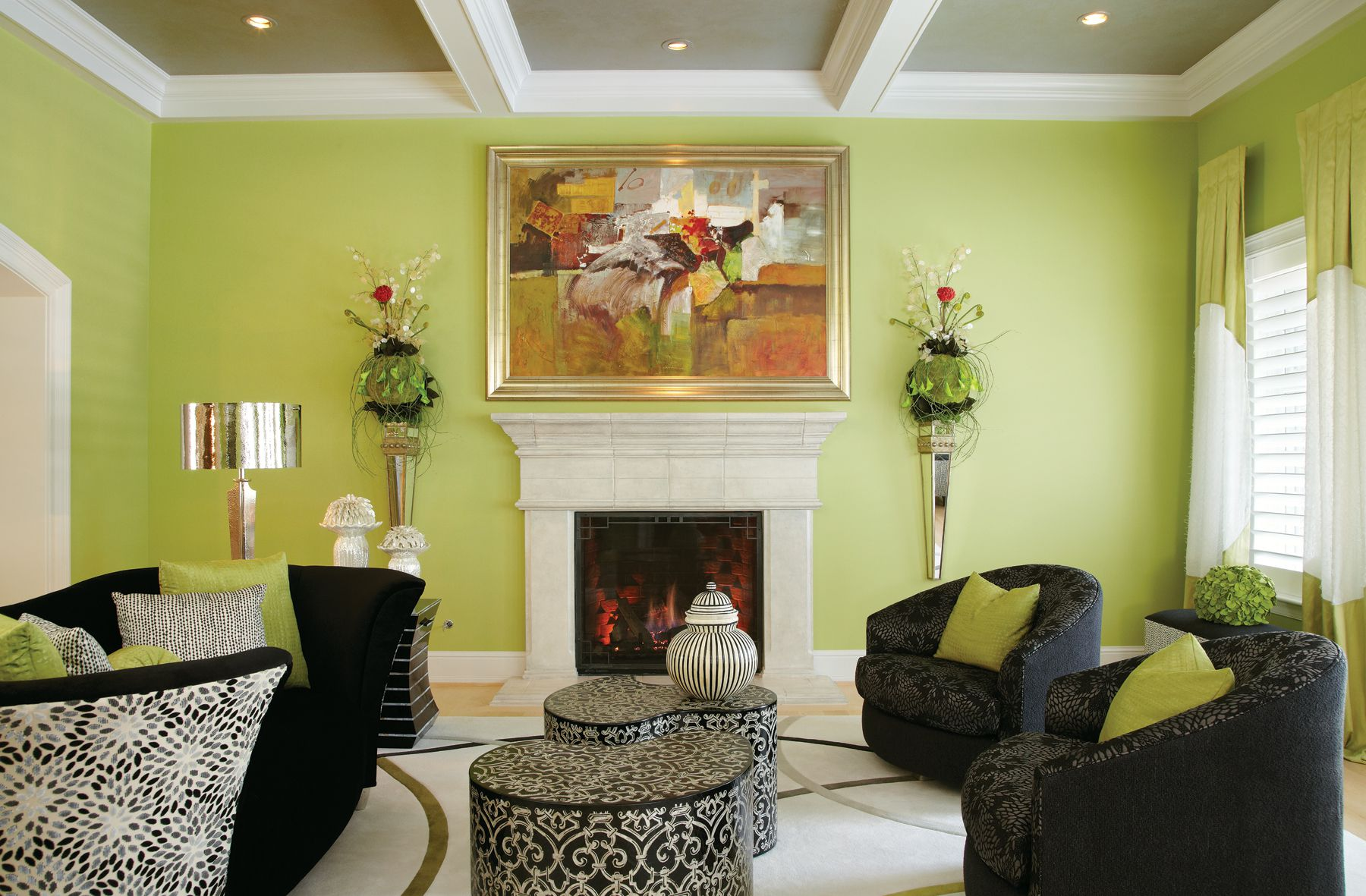 Pleasing Wall Paint Color For Green Living Room With Black Furniture