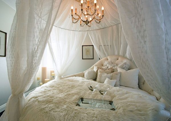 Ravishing Chandelier also Neat White Canopy Bed For Romantic Bedroom