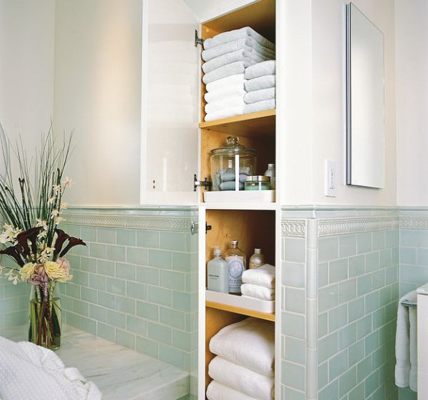 Ravishing Design of Bathroom Wall Storage Cabinets Using Wooden Door