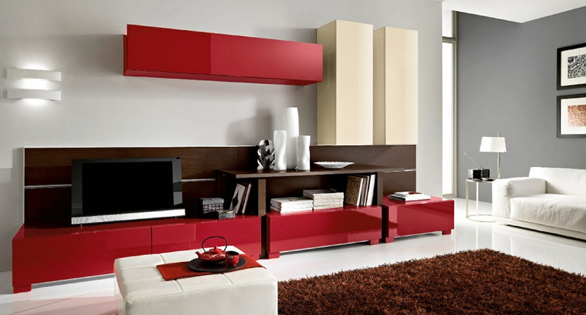 Gentil Red Cabinets And Wooden Shelves Completing Elegant Living Room Color Ideas  Near White Sofa And Carpet