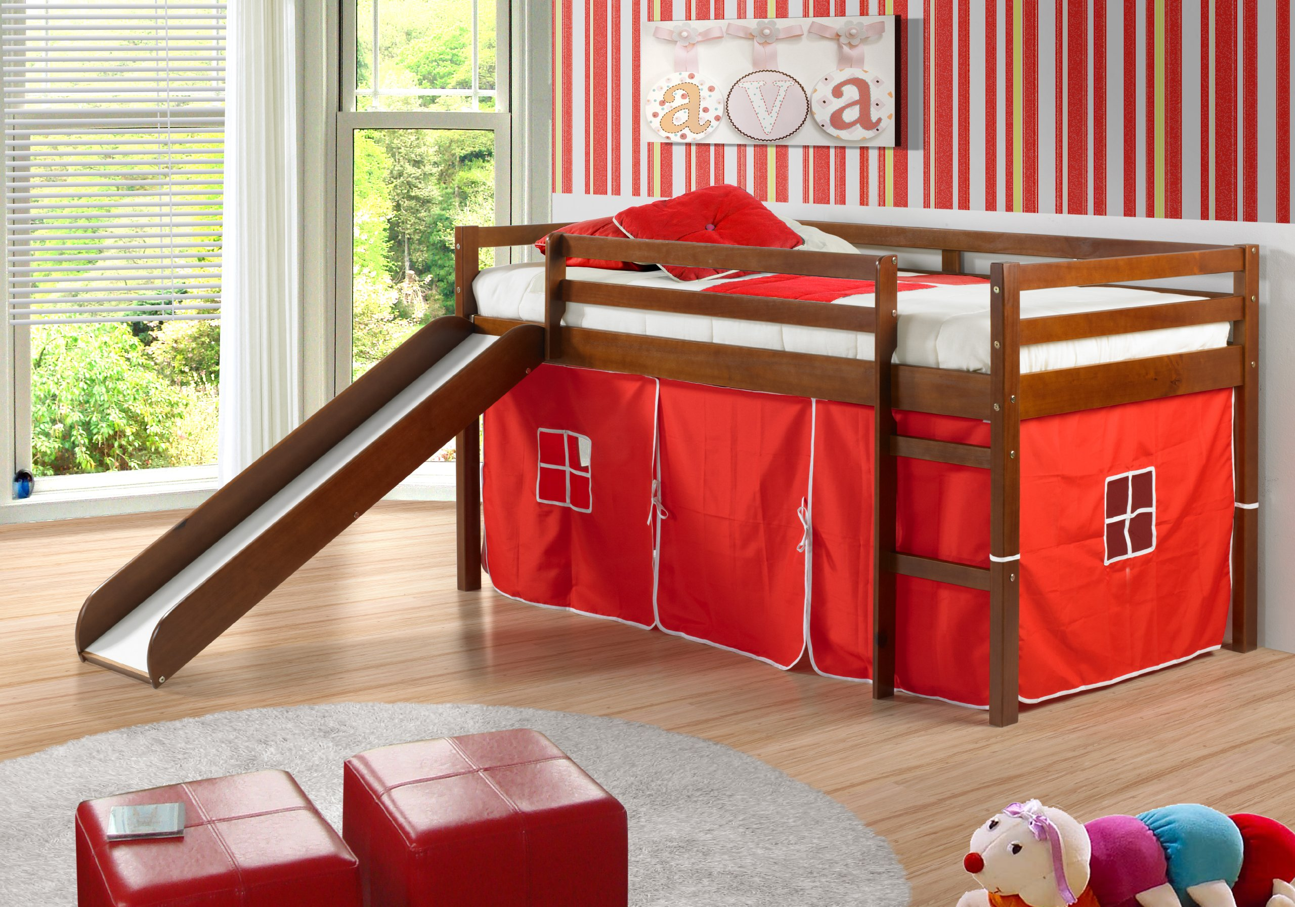 Red Cushions and Wooden Slide Completing Appealing Boys Bunk Beds inside Spacious Bedroom with Red Ottomans