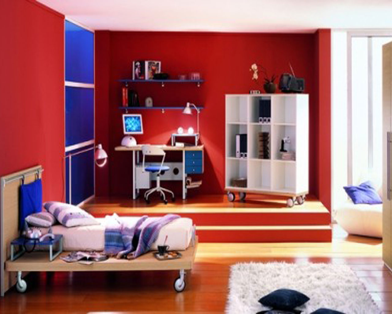 Red Painted Wall and Laminate Hardwood Flooring Used in Fancy Boys Room Decor with White Shelves