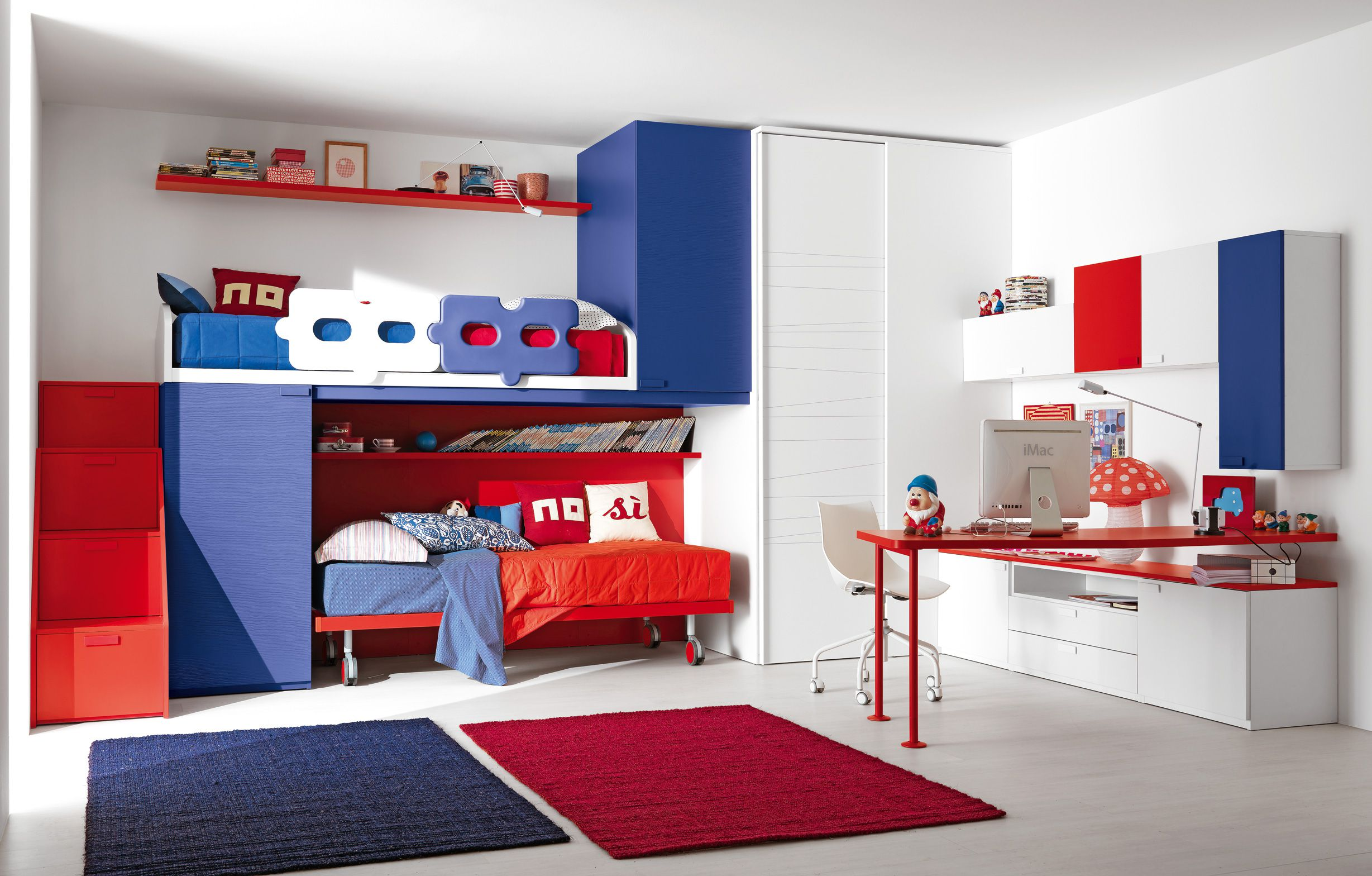 Red And Blue Bunk Beds From Teen Bedroom Furniture Placed In Wide Room With  Computer Teenage Bedroom Furniture Ideas E65