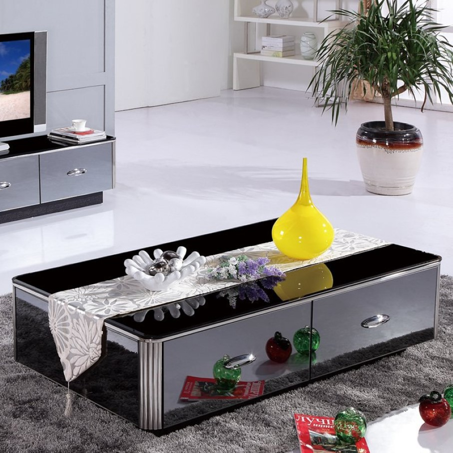 Reflective Large Square Coffee Table Decorating Modern Living Room with Grey TV Cabinet and Grey Carpet Rug
