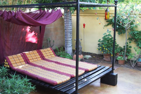 Romantic Ambience from Purple Color Accent for Outdoor daybed With Canopy and Iron Material & Why Choosing Rattan Outdoor Daybed with Canopy - MidCityEast