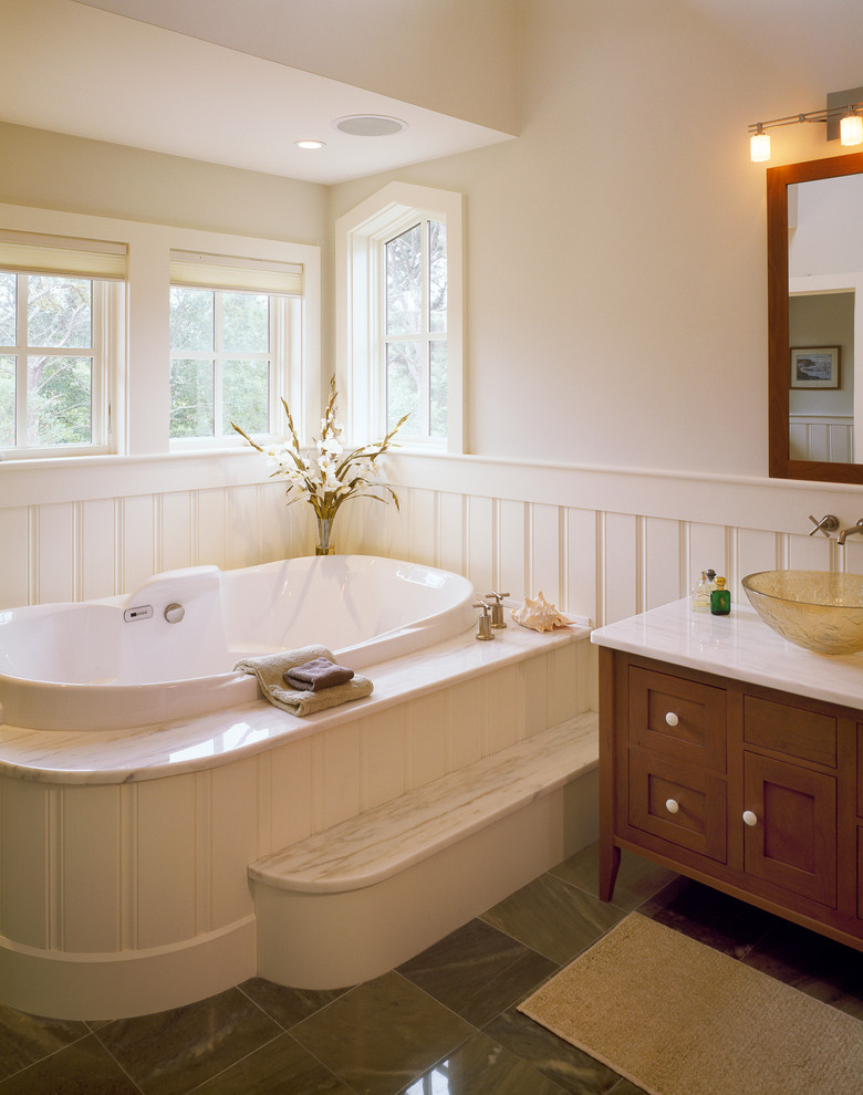 Romantic Ambience in Half Bathroom Ideas with White Bathub and Square Glass Window
