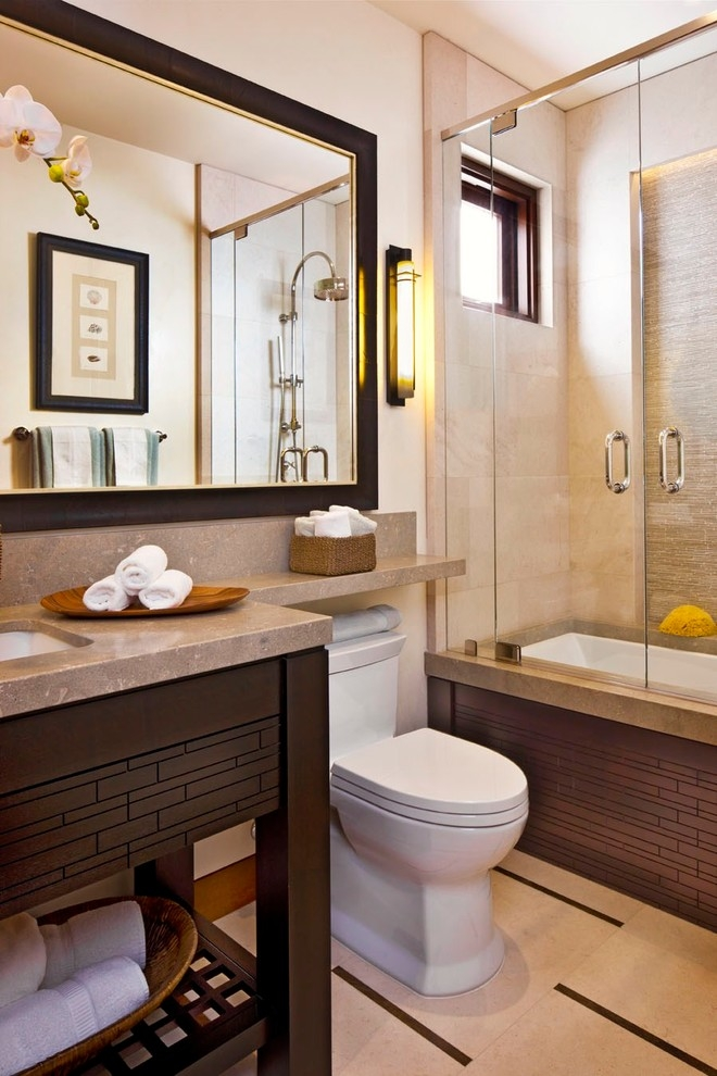 Romantice Ambience from Golden Lamplight and Nice Wall Paint for Bathroom Cabinets Over Toilet