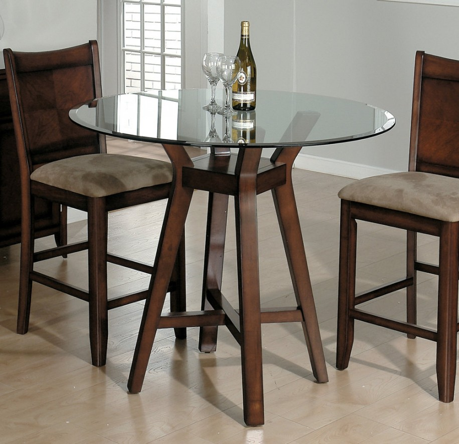 Round Glass Top for Small Dining Tables between Wooden Stools on Laminate Hardwood Flooring
