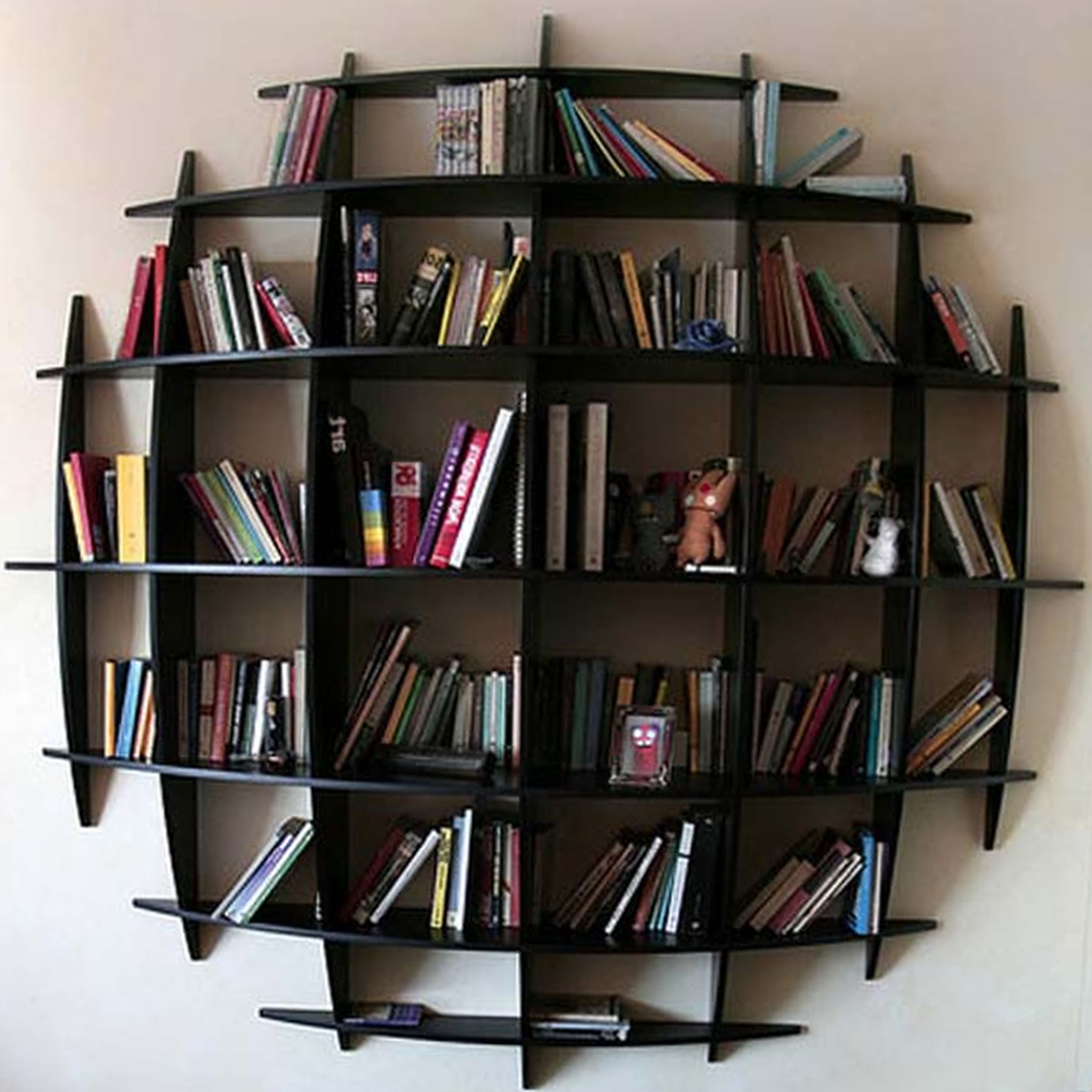 Genial Round Shaped Black Wall Mounted Bookshelves Completed With Various Books On  White Wall