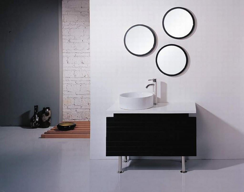 Tips to make beautiful small bathroom vanity midcityeast - Round mirror over bathroom vanity ...