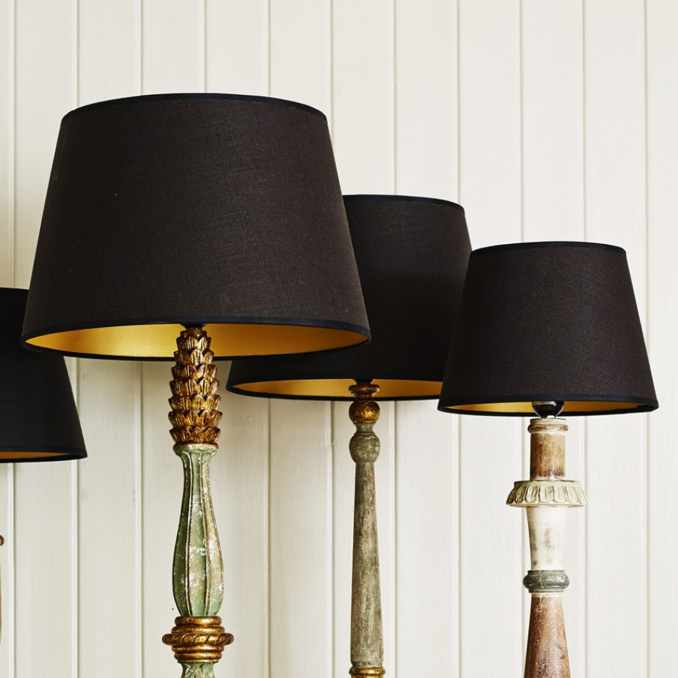Rustic Design for Floor Lamp Handles under Simple Black Lamp Shades Placed in Traditional Room