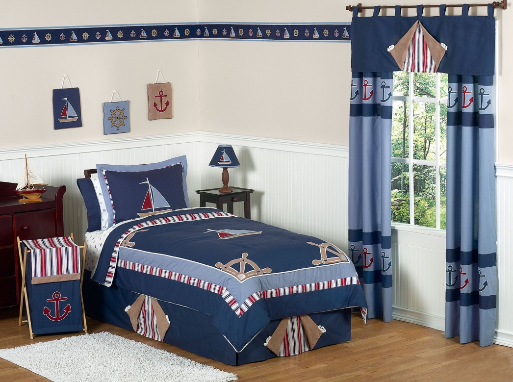 Sailing Boat Themed Teen Boy Bedding Completing Cozy Bedroom with Wooden Dresser on Hardwood Flooring