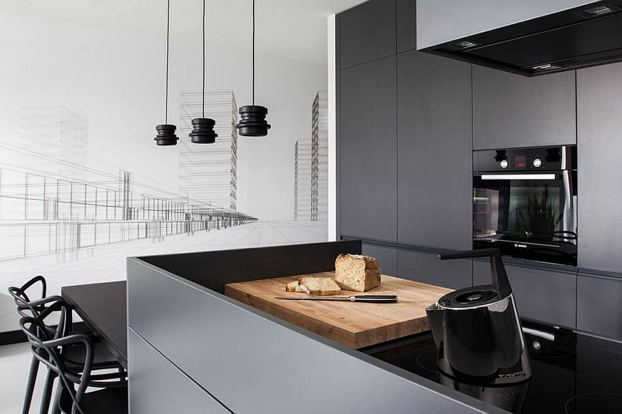 Seductive Theme of Black Kitchen Decor Using Table and Chair