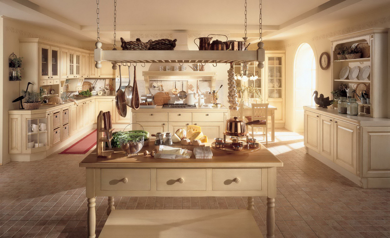 Sensational Country Kitchen Ideas with Old Fashioned Island and Long Counter under White Painted Ceiling