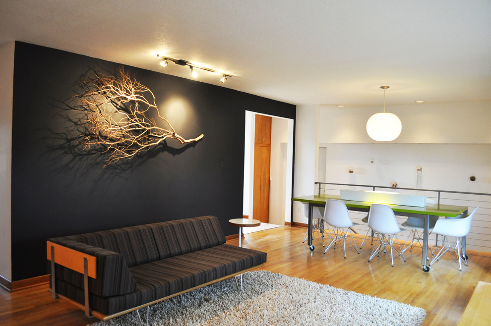 Sensational Wall Art Ideas for Simple Sitting Room near Dining Room with Green Table and White Chairs