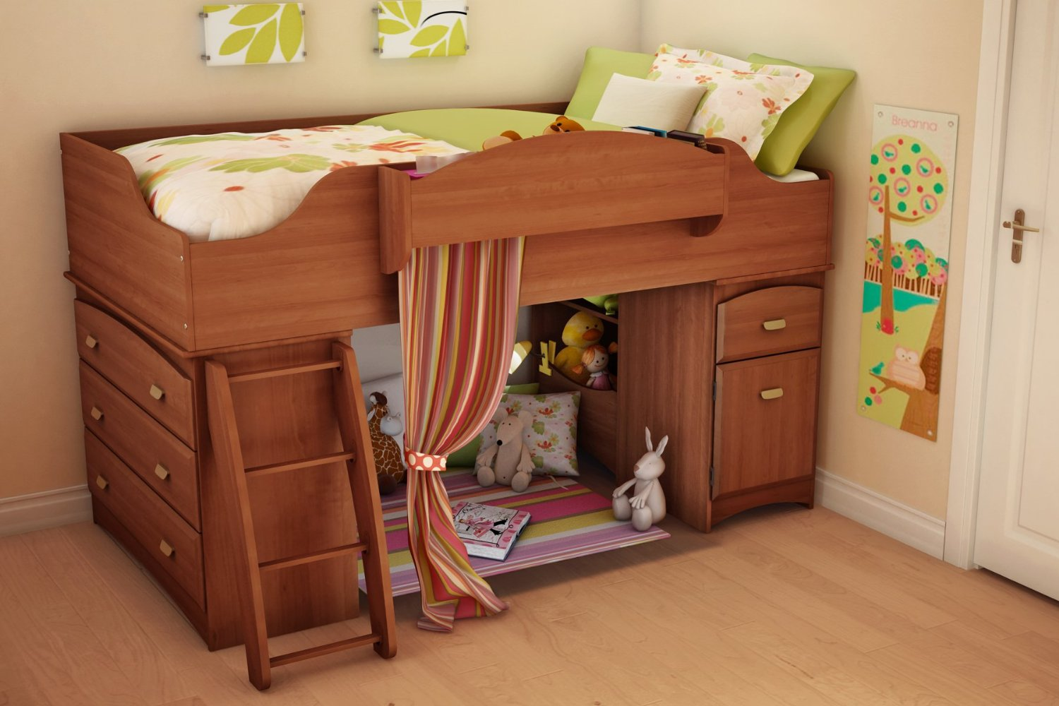 Simple Bunk Bed Ideas Using Ladder and Drawers also Neat Curtain