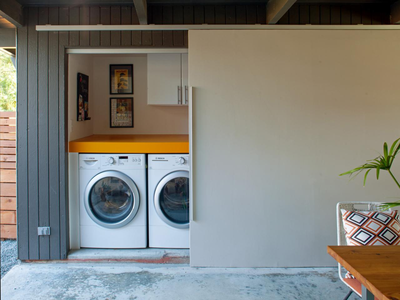 Simple Design for Laundry Room Design with Best Furniture and Large Chalk Wall
