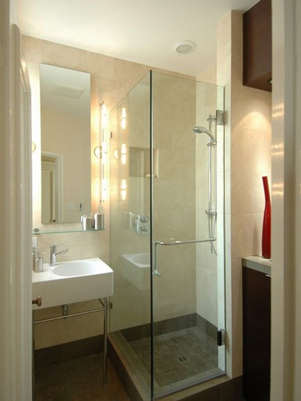 Simple Furniture Design in Small Bathroom Layout with Bright Mirror and Glass Door