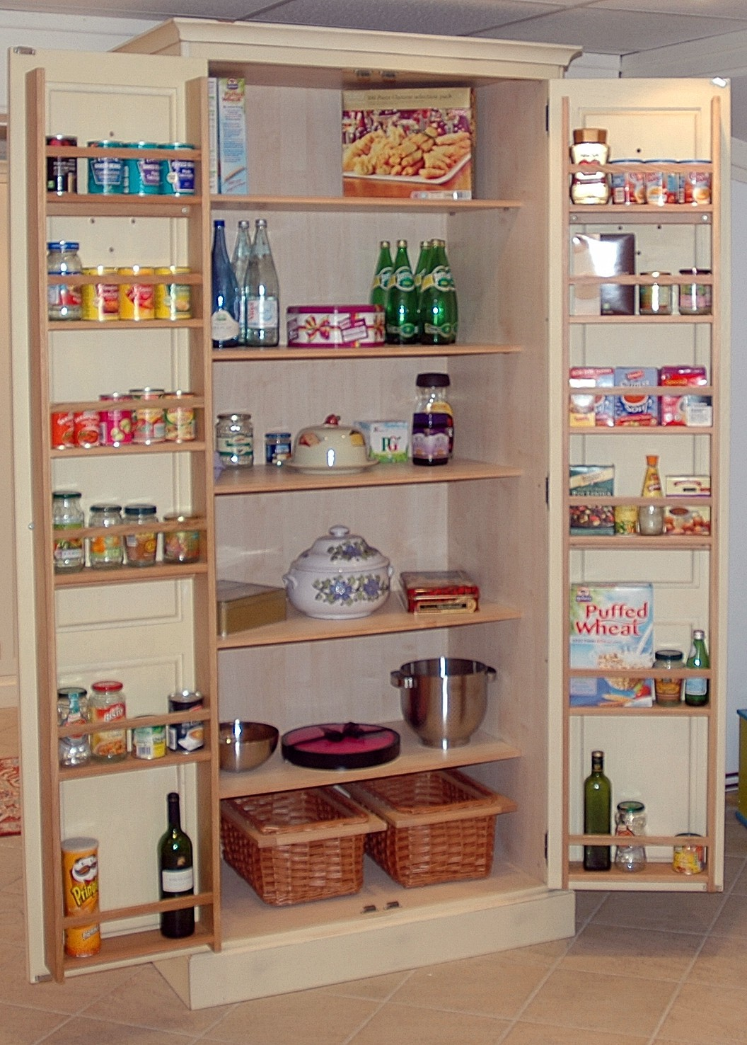 Simple Kitchen Storage Ideas Inside Wooden Cabinet For Cozy Kitchen With  Brown Tile Flooring