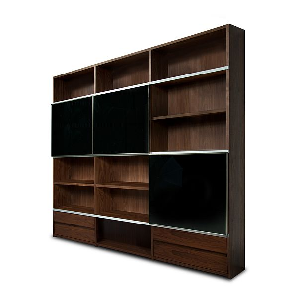 Simple Picture and Big Design for Wood Shelving Units with Brown Color Accent