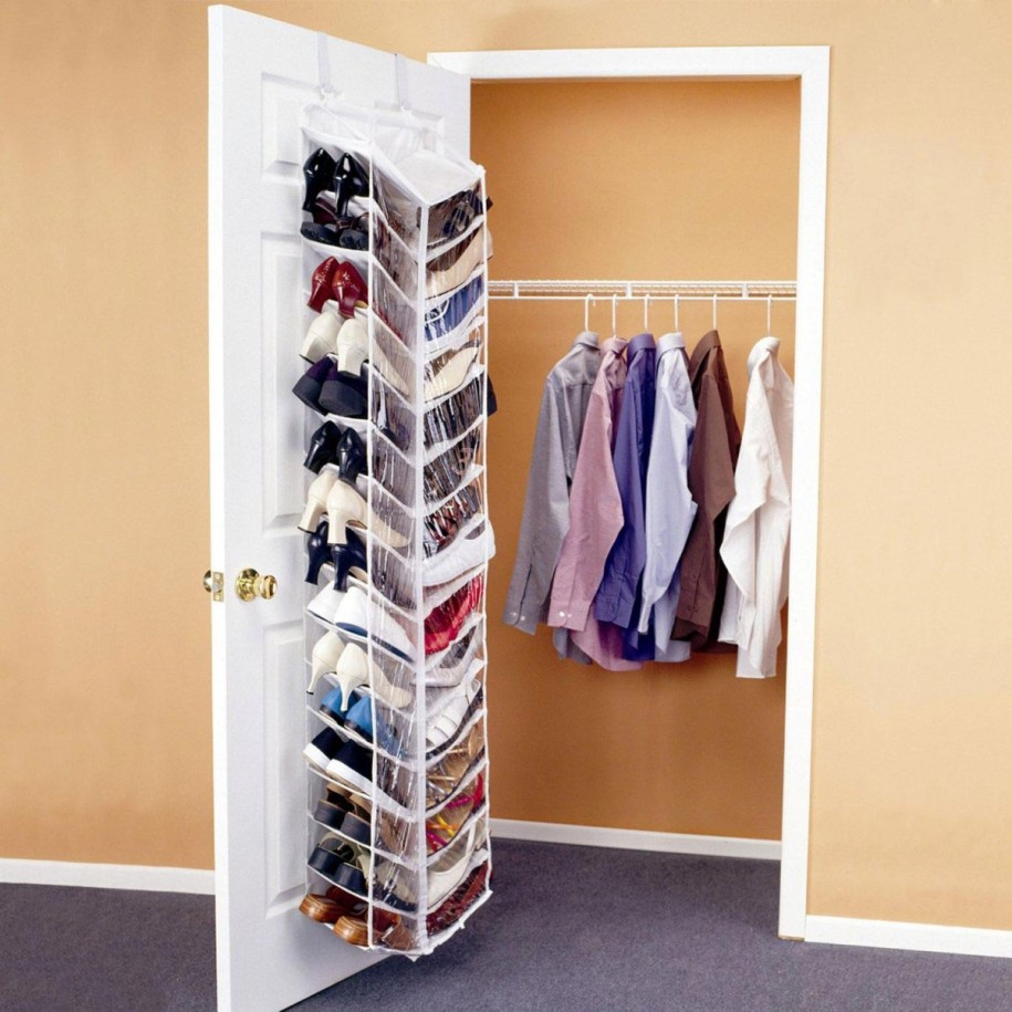 Simple Small Closet Ideas with Long Clothes Hanger and Hanging Shoes Shelves on White Door