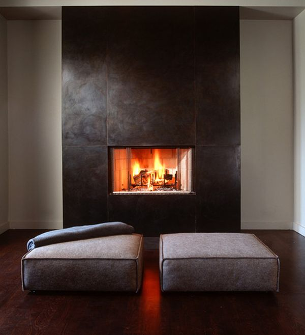 Superbe Simple Square Fireplace Tile Ideas With Great Stone Wall And Dark Color  Paint