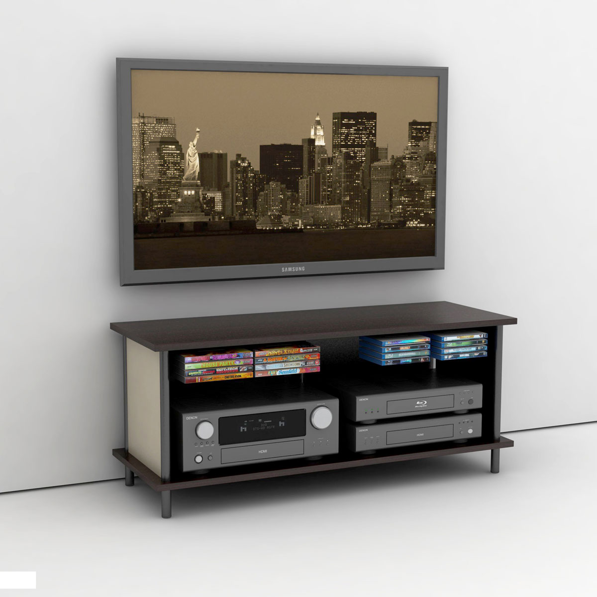Simple Wall Mount TV Stand on Clean White Flooring in Minimalist Room with White Painted Wall
