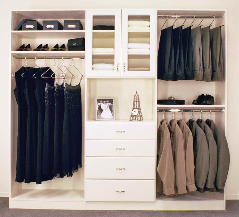 Simple White Cabinet and Drawers in Appealing Closet Storage Ideas with Clothes Hangers