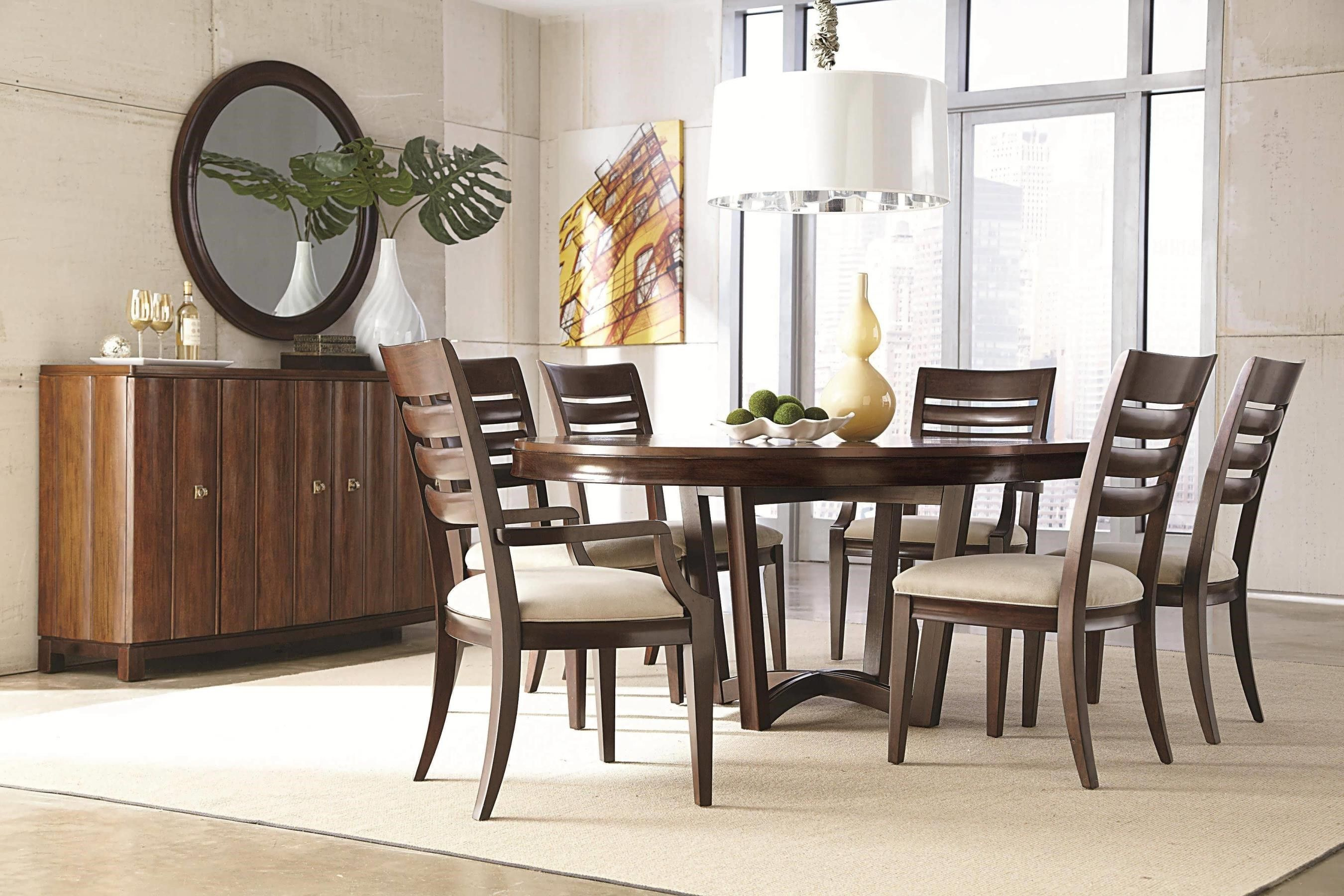 Superbe Simple Wooden Cabinet Placed Near Oak Round Dining Table For 6 And Wooden  Chairs Under White