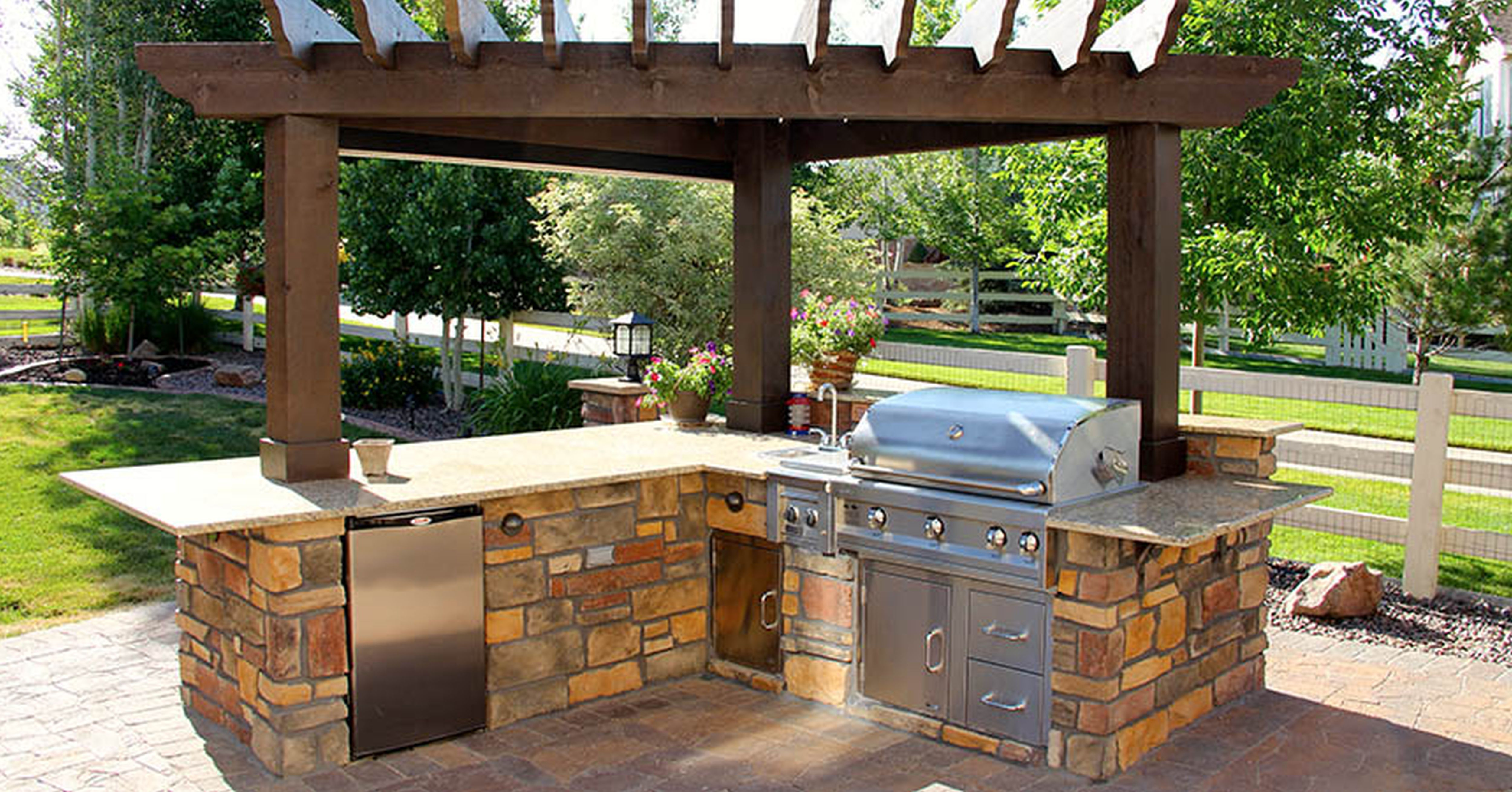 Simple Wooden Pergola for Minimalist Outdoor Kitchen Plans with Stone Counter and Glossy Barbeque Set