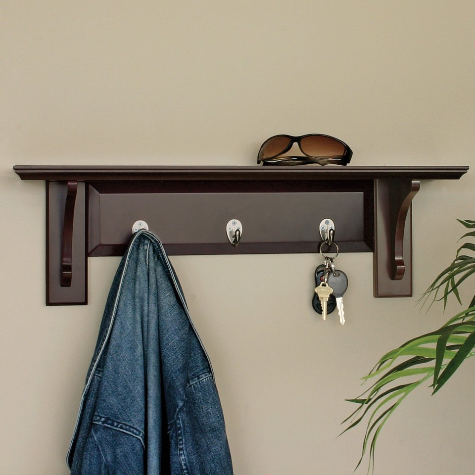 Simple Wooden Wall Hanger using Small Decorative Wall Hooks for Entry Hallway with Grey Painted Wall