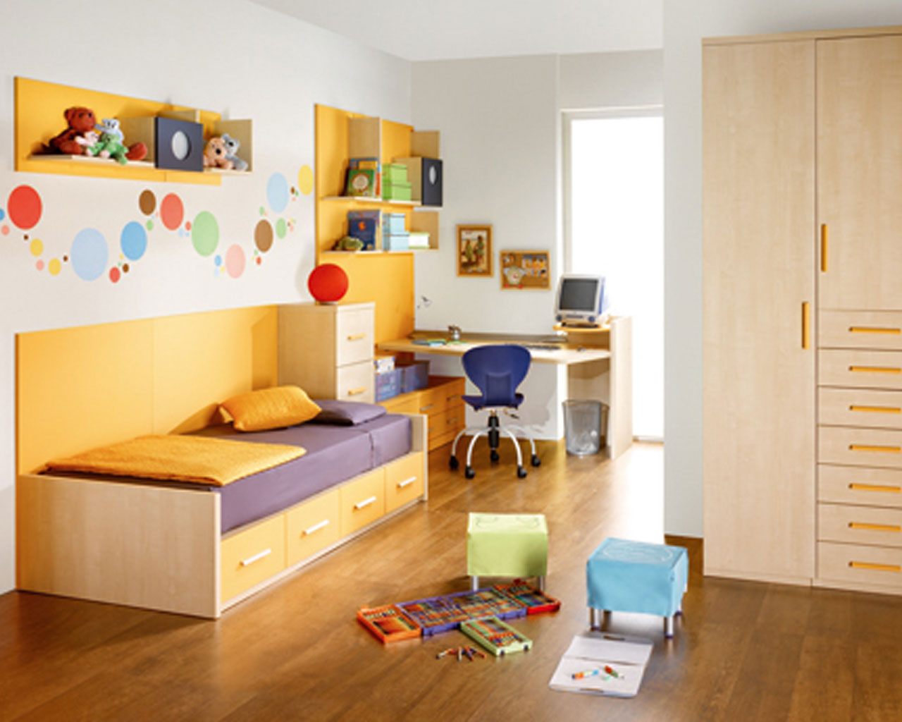 Single Storage Bed and Cozy Computer Design Completing Fun Kids Room Decor with Laminate Oak Flooring