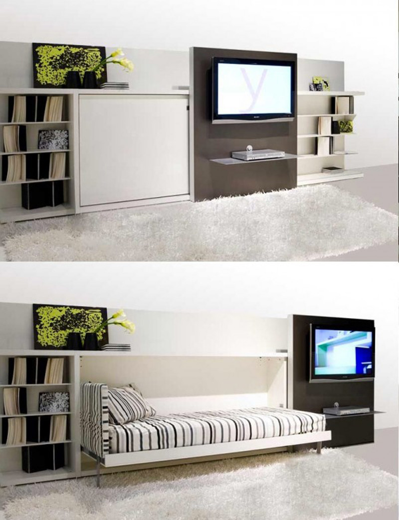 Small Apartment Idea with White Bookshelves and Awesome Space Saving Beds on White Carpet Rug