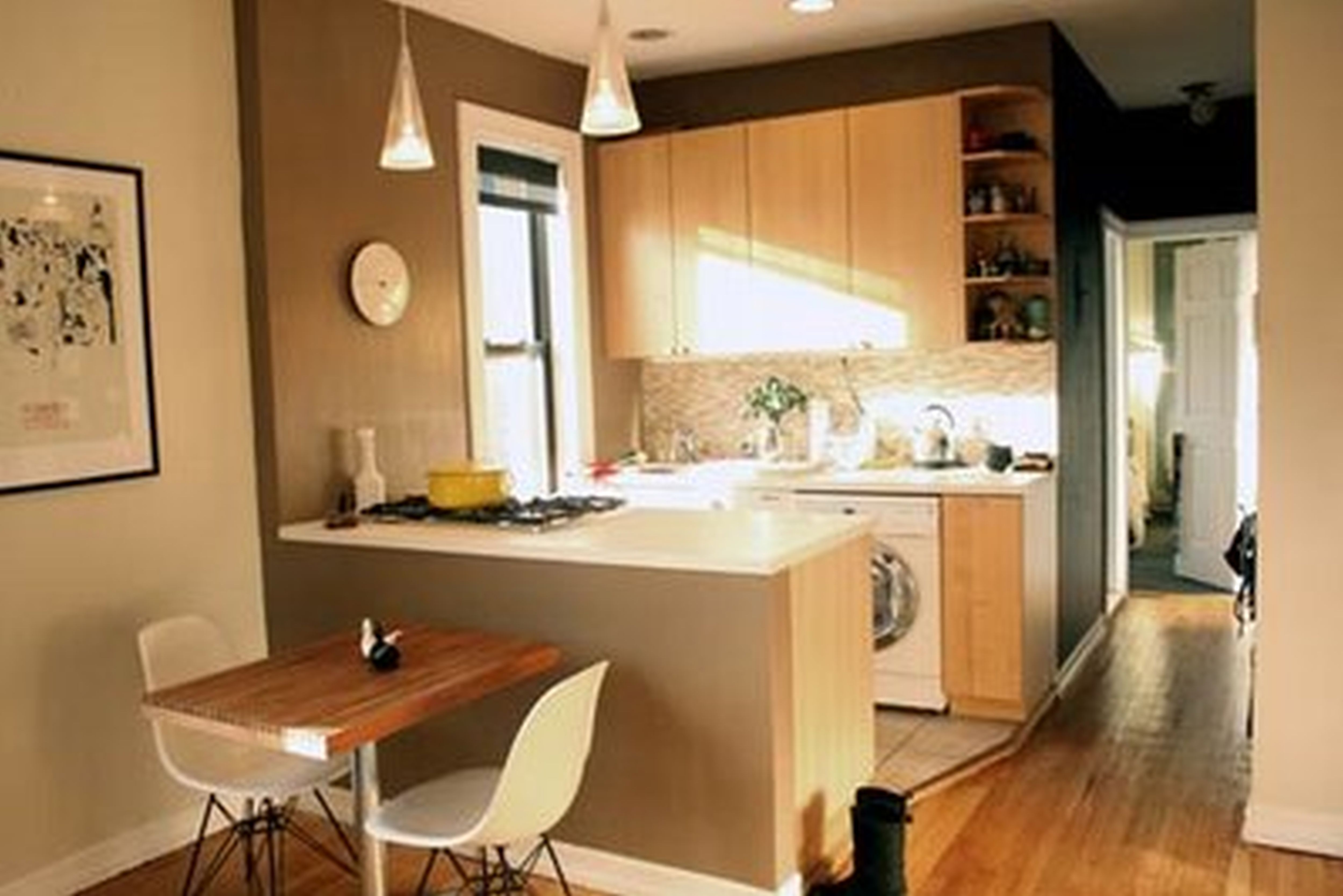 Small Apartment Ideas for Kitchen and Dining Room with Wooden Table and White Chairs near Oak Counter