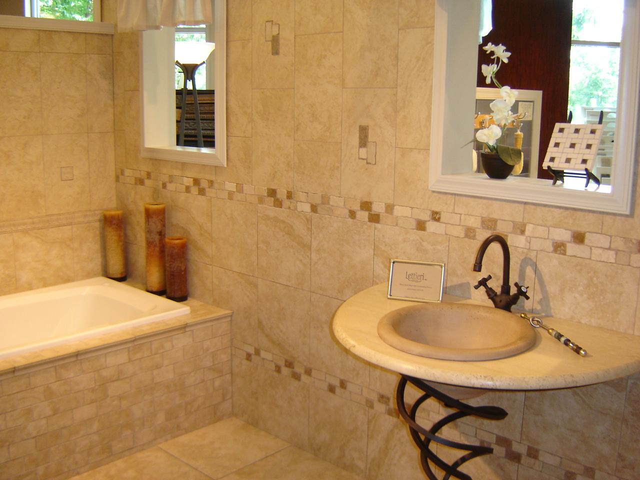 Small Bathroom Remodel Ideas with Round Sink and Unique Vanity near White Bathtub on Tile Wall