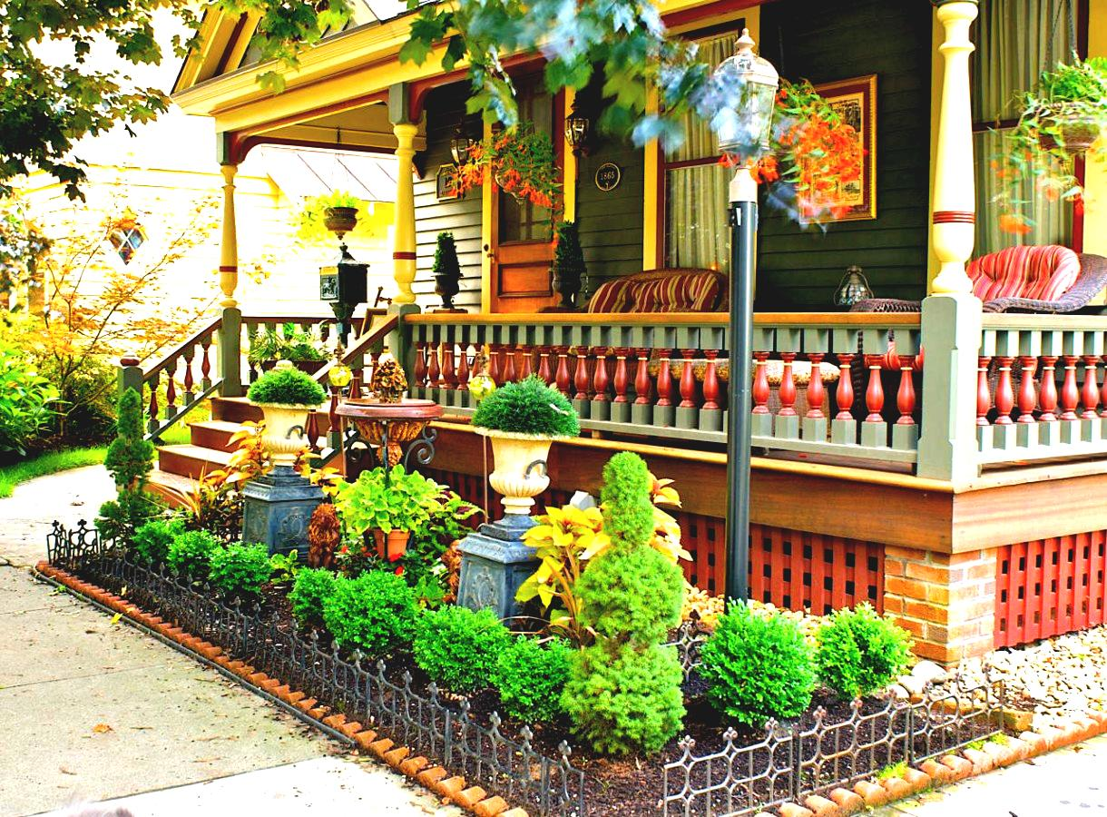 Small Flower Garden Ideas with Green Plants and Appealing Ornaments near Comfy Porch Area