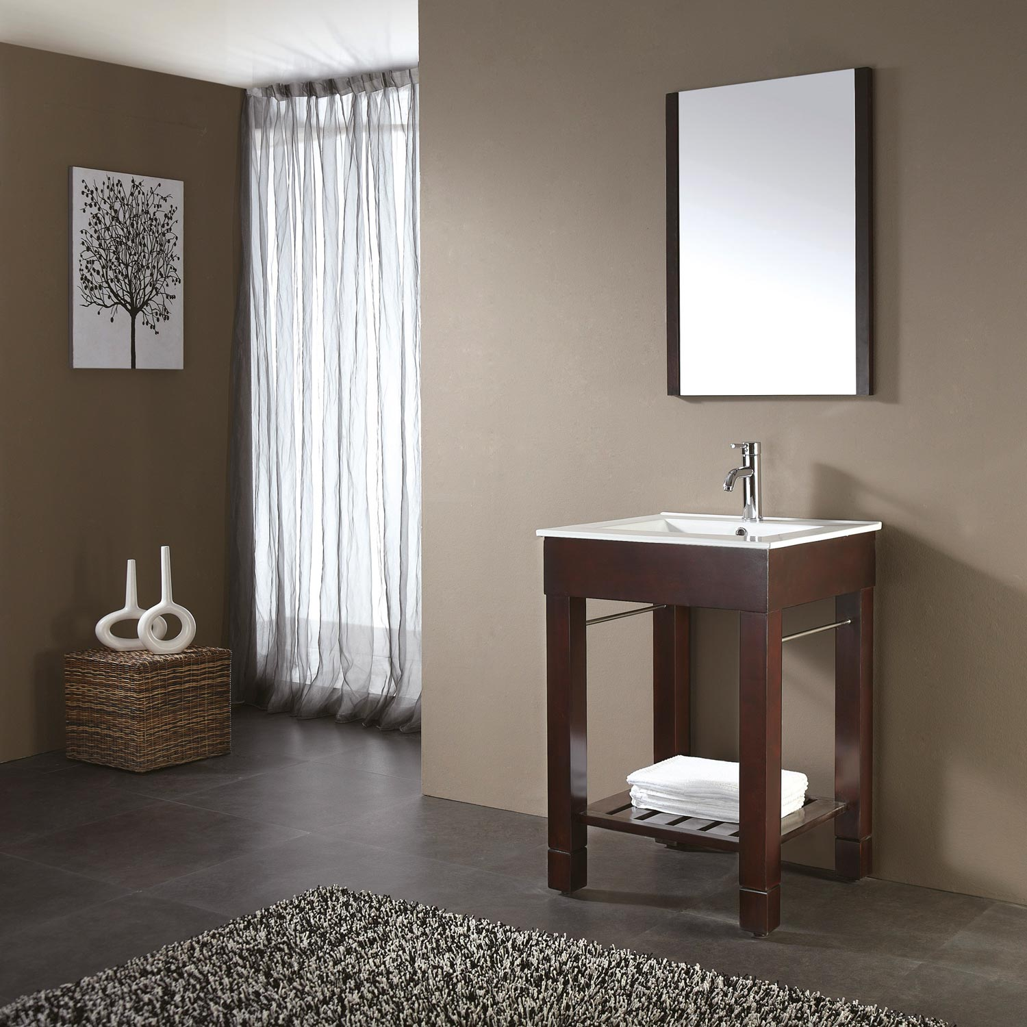 Small Oak Bathroom Vanity and White Sink under Clear Wall Mirror on Grey Painted Wall