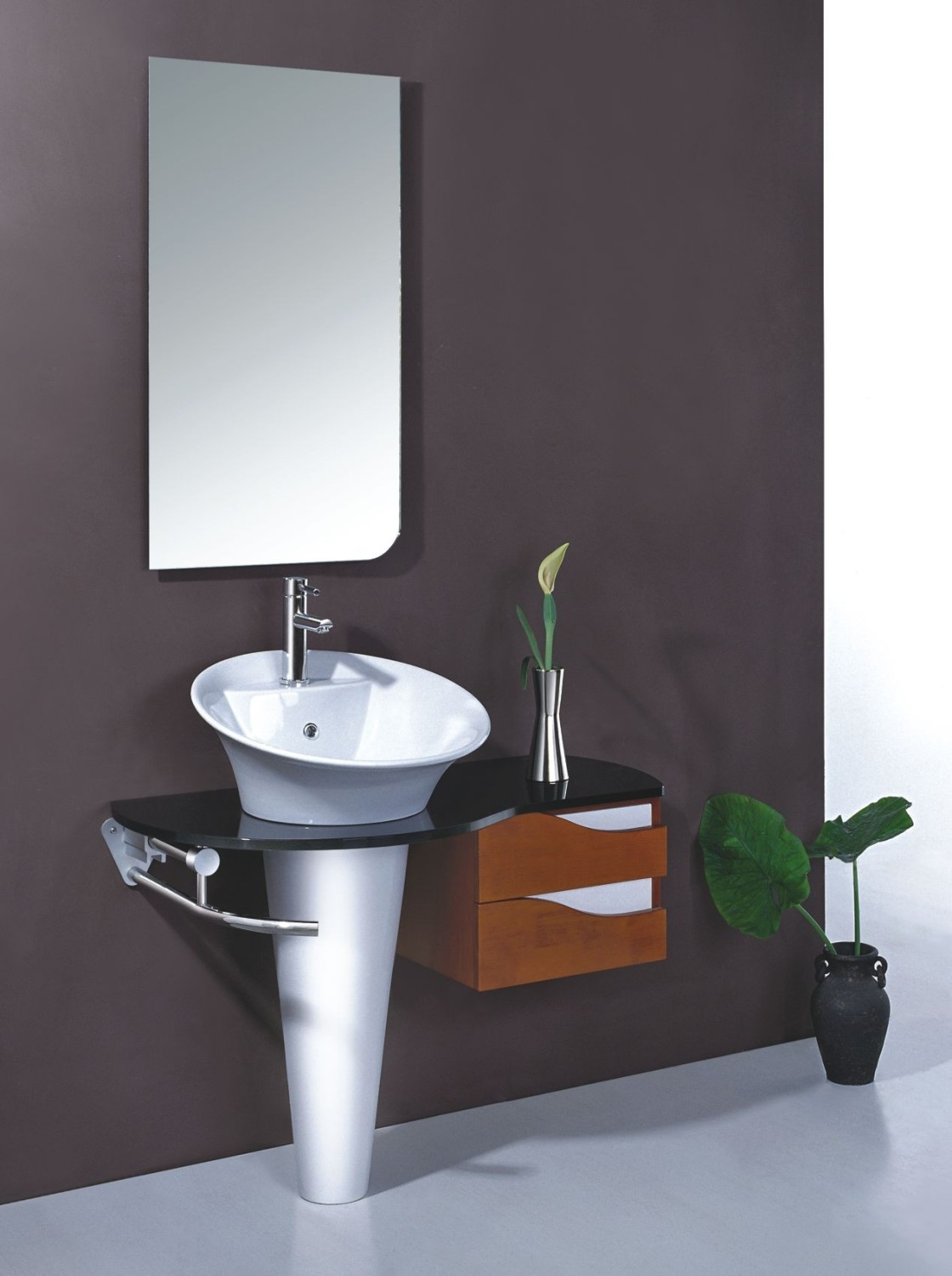 Small Side Table and White Sink Used in Stylish Bathroom with Clear Wall Mirror on Grey Wall
