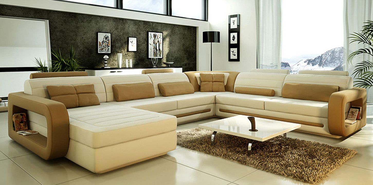 Spacious Sitting Room Completed with Long Cream Sectional Sofa and Unique Coffee Tables on Carpet Rug